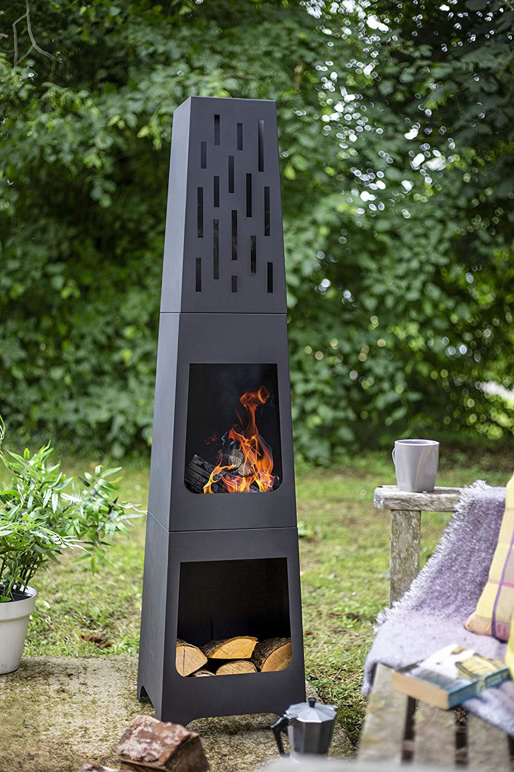 La Hacienda Oxford Contemporary Steel 150cm Chiminea Patio