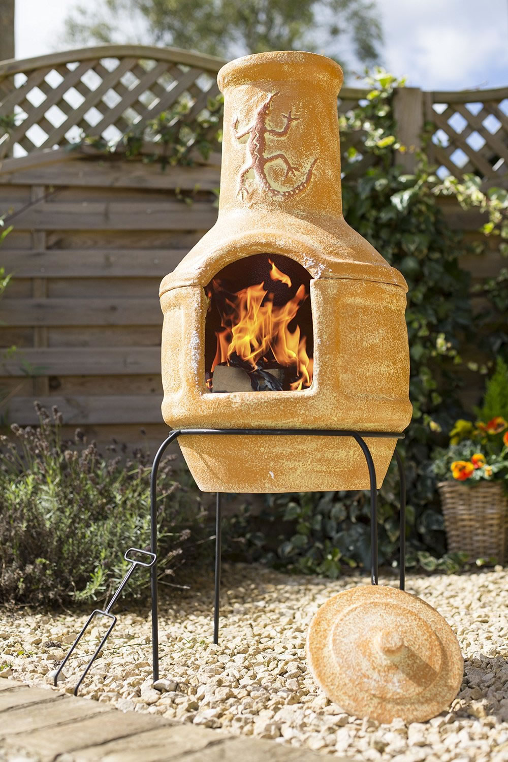 La Hacienda Clay Lizard 106cm Pizza Chiminea W Bbq Grill