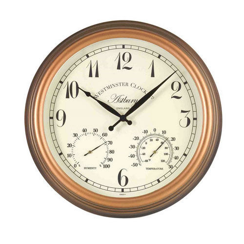 astbury outdoor wall clock with thermometer and hygrometer