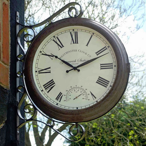 Greenwich Double Sided Station Clock Amp Thermometer 163 89