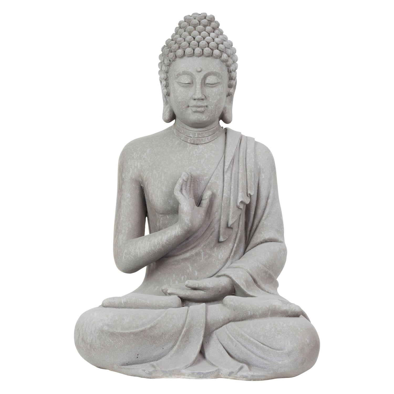 Large 73cm Grey Stone Look Sitting Buddha Statue Garden