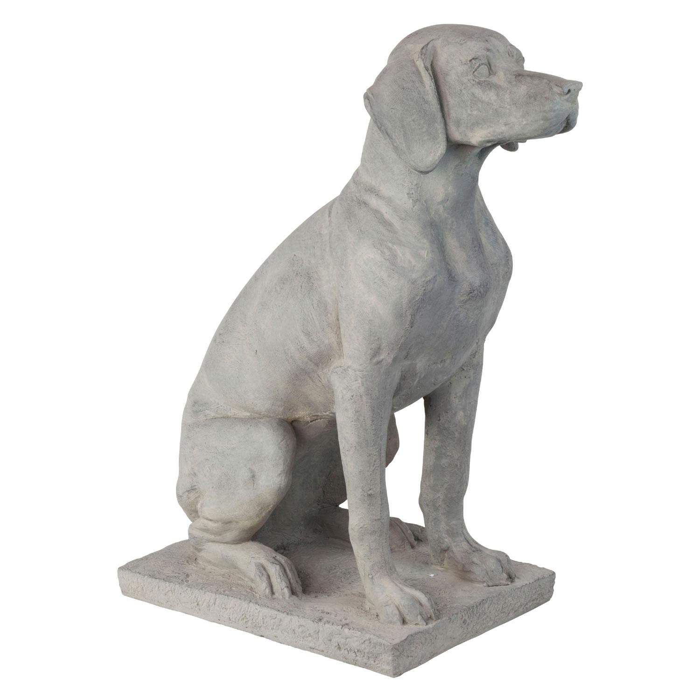 Large Grey Stone Look 67cm Sitting Pointer Dog Garden