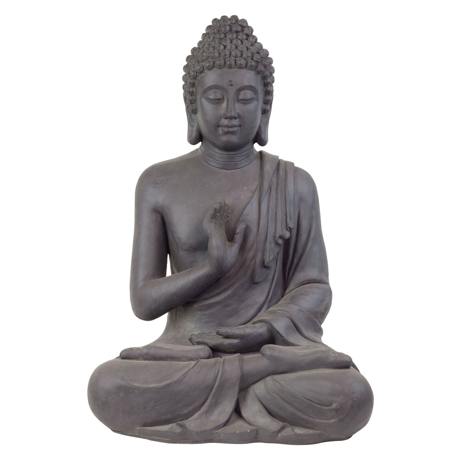 Large 73cm dark grey stone look sitting buddha statue for Buddha decorations for the home uk