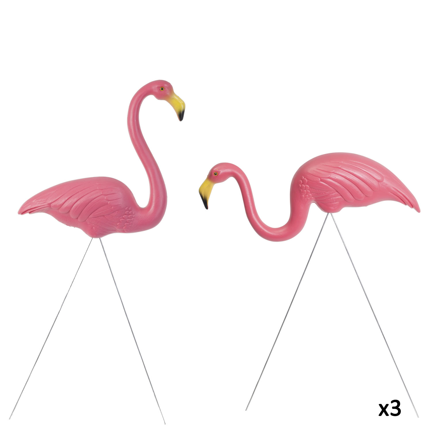 Flamingo garden ornament - Image Of 3 Pairs Of Authentic Pink Plastic Lawn Flamingo Garden Ornaments By Don Featherstone