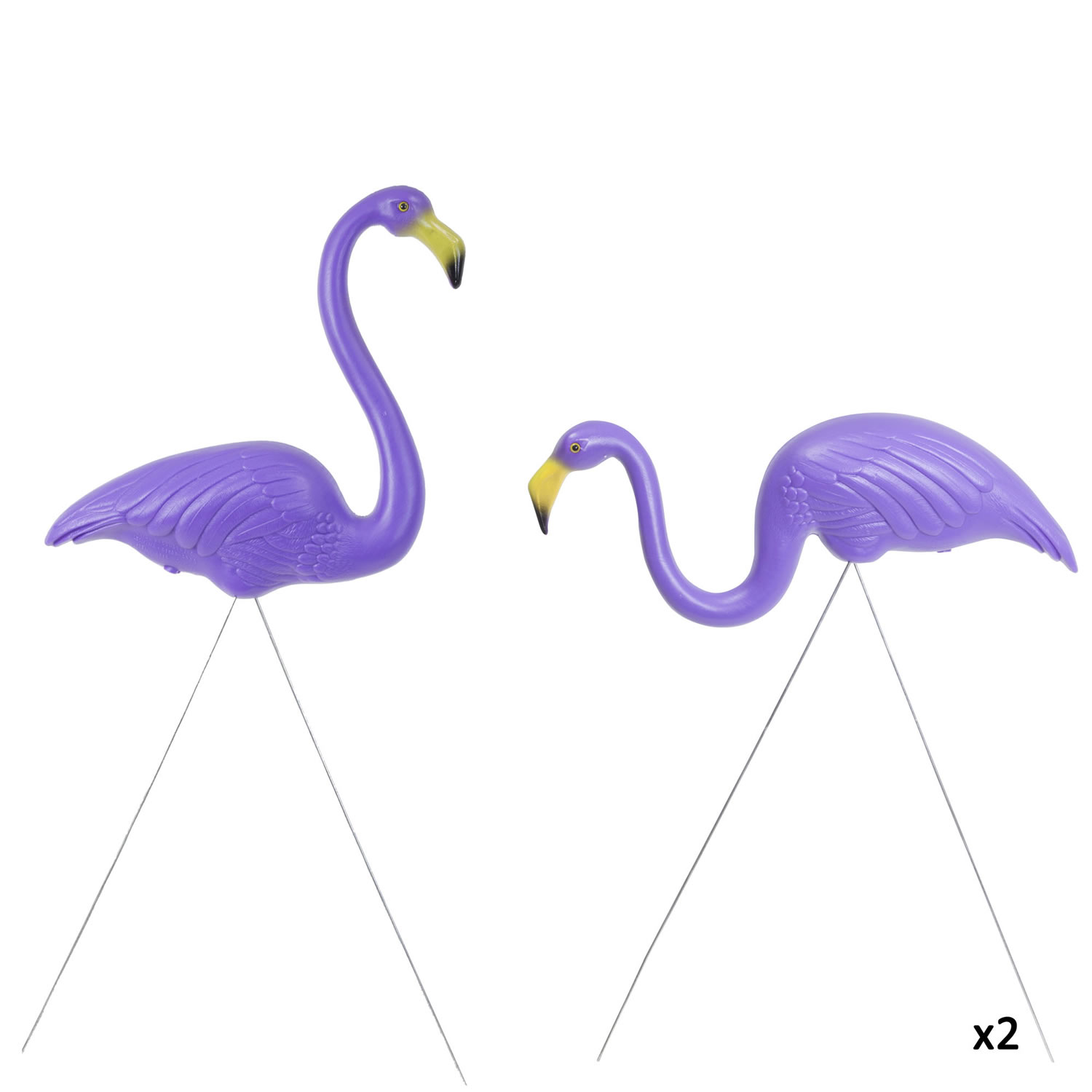 2 Pairs of Authentic Purple Plastic Lawn Flamingo Garden ...