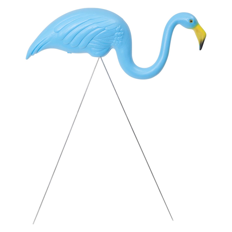 Pair of Authentic Blue Plastic Lawn Flamingo Garden