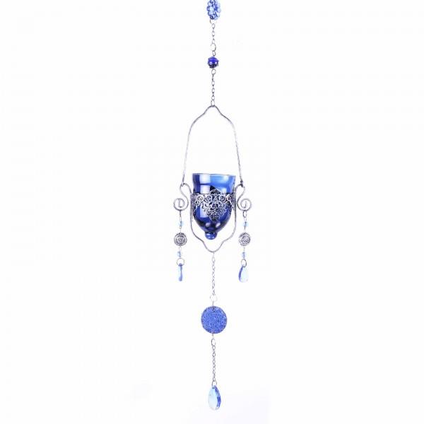 Single Blue Hanging Glass Tealight Holder For Outside Or