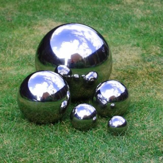 5 Mirror Finish Stainless Steel Sphere Ornaments 6 5 9
