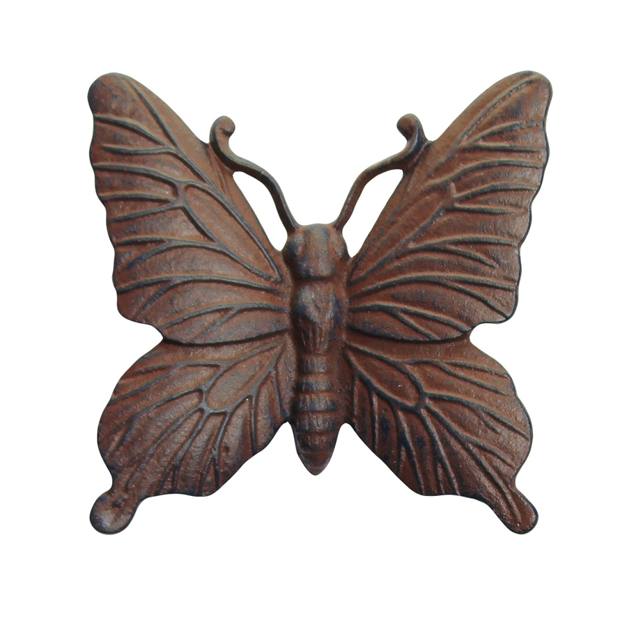 Wall mountable vintage finish cast iron butterfly garden for Outdoor butterfly ornaments