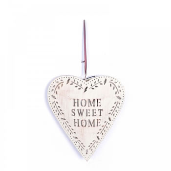 Image of Large Rustic Finish Metal 'Home Sweet Home' Heart Decoration