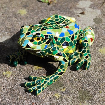 Image of Large Mosaic Coloured Resin Frog Garden Ornament