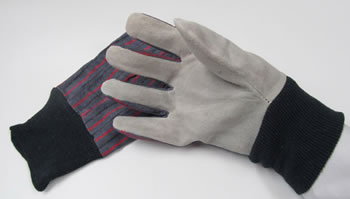 Image of Leather-Palmed Gardening/DIY Gloves With Cotton Backing