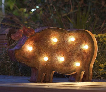 Image of Flat Steel LED Pig with solar panel