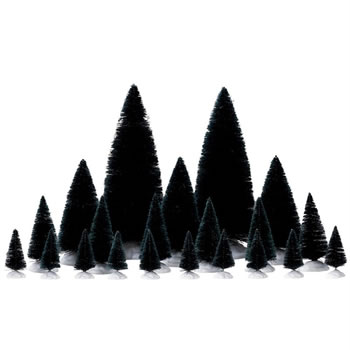 Image of Lemax Christmas Village - Assorted Fir Trees Accessories - Set of 21 (74691)