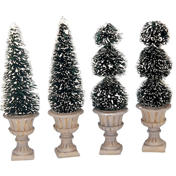 Image of Lemax Christmas Village - Cone-Shaped & Sculpted Topiaries Accessories - Set of 4 (34965)