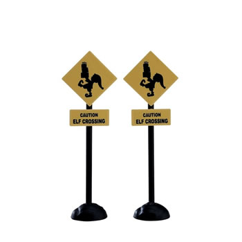Image of Lemax Christmas Village - Elf Crossing Sign Accessories - Set of 2 (74238)