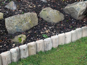 Image of 3 x Hardwood  Log roll lawn edging 15cm (6