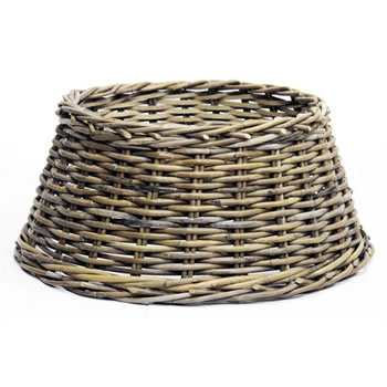 Image of Longacres Woven Wicker Round Christmas Tree Skirt - Natural