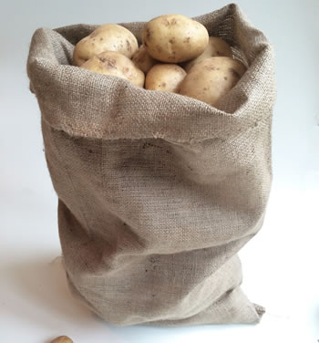 Image of 5 Medium Hessian Sacks Potato Vegetable Storage Bags 45 x 60cm