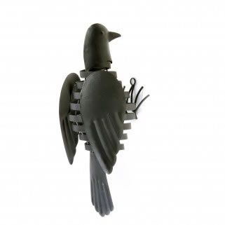 Image of Wall Mountable Black Finish Metal Garden Bird With Flapping Wings