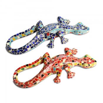 Image of Mosaic Coloured Blue & Orange Lizard Garden Ornaments