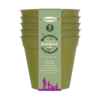 Image of Haxnicks Sage Green 15cm Bamboo Plant Pots Biodegradable (Pack of 5)