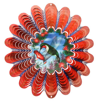 Image of Iron Stop Designer Animated Hummingbird Wind Spinner 10in Garden Feature