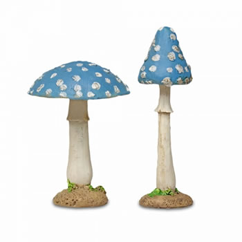 Image of Set of Two Blue Resin Mushroom Toadstool Garden Ornaments