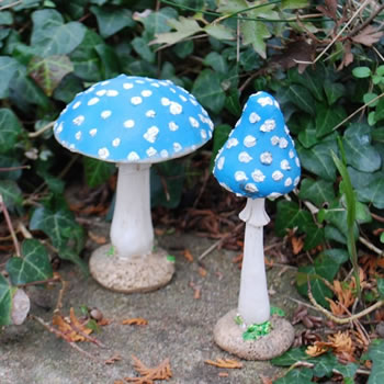 Extra image of Set of Two Blue Resin Mushroom Toadstool Garden Ornaments