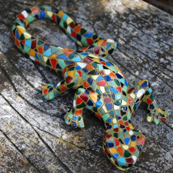 Extra image of Pair Of Mosaic Lizard Garden Ornaments In Resin