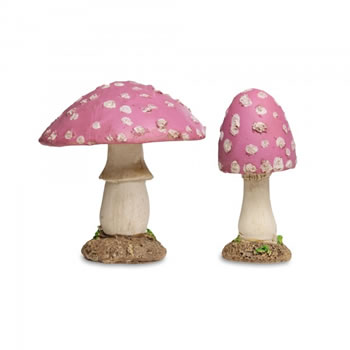 Image of Set of Two Pink Resin Mushroom Toadstool Garden Ornaments