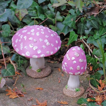 Extra image of Set of Two Pink Resin Mushroom Toadstool Garden Ornaments