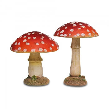 Image of Pair Of Detailed Red Mushroom or Toadstool Garden Ornaments