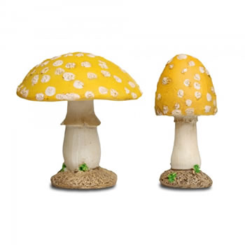 Image of Pair of Yellow Resin Mushroom Toadstool Garden Ornaments