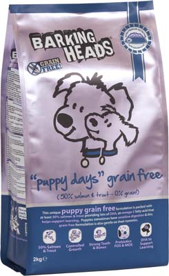 Image of Barking Heads Puppy Days GRAIN FREE 2KG made with 50% Salmon and Trout content