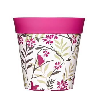 Image of Single 22cm Pink Birds & Branches Plastic Garden Planter 5L Flowerpot by Hum