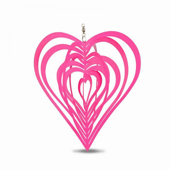 Image of Bold Pink Heart Shaped Steel Garden Windspinner