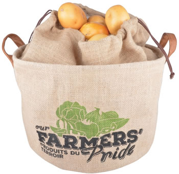 Image of Fallen Fruits Hessian Potato Drawstring Storage Bag