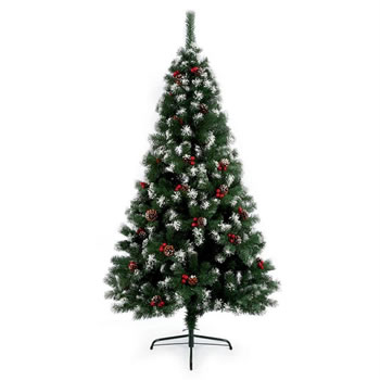 Image of Premier 2.1m Snow Tipped Berry and Cone Christmas Tree (TR700ST)