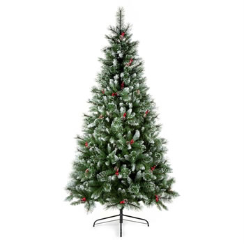 Image of Premier 2.1m Sugar Pine Iced Tipped Christmas Tree with Berries & Cones (TR700SUP)
