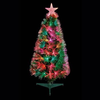 Image of Premier 80cm Slim Flashing Fibre Optic Christmas Tree with Multi Colour LEDs (FT183128)