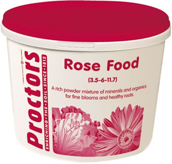 Image of 5kg tub of Proctors Rose and garden flower fertiliser in airtight container