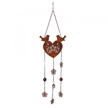 Image of Rusty Look Heart Hanger with Birds & Flower Patterned Design