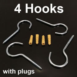 Small Image of 4x 10cm Large Heavy Duty Screw Hooks