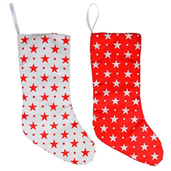 Small Image of Pair of Red & White Star Fabric 43cm LED Light Up Christmas Stocking