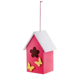 Small Image of Hanging Painted Pink Wooden Bird House with Butterflies