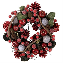 Small Image of Seasonal Red & Green Leaved Berry & Pine Cone Christmas Wreath
