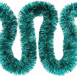 Small Image of 3 x 2m (6m) Turquoise Fine Cut 7.5cm Christmas Tree Tinsel