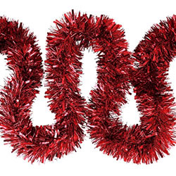 Small Image of 3 x 2m (6m) Red Chunky Cut 10cm Christmas Tree Tinsel