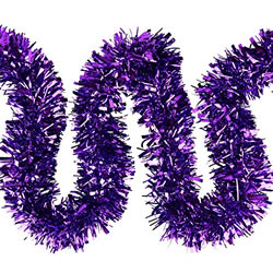 Small Image of 3 x 2m (6m) Purple Chunky Cut 10cm Christmas Tree Tinsel